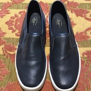 Bass black perforated slip on shoes